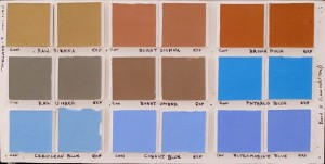 Square paint chips in various R&F Handmade Paints colors testing the longevity of pigments using a lightfastness rating scale