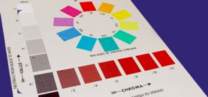 "The Munsell Chroma Scale (bottom) served as the ""limbs"" on Munsell's three-dimensional color tree and complete the sphere in Munsell's three-dimensional color order system."