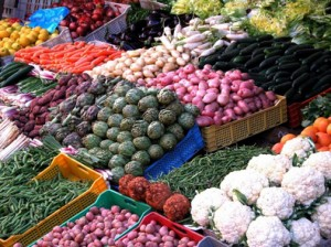 colorful fruits and vegetables at market
