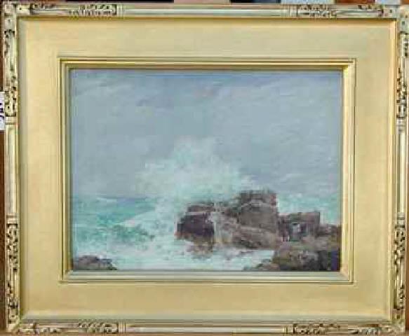 crashing waves on rocks painting on wood panel