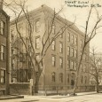 A vintage photograph of the Everett School in Boston, MA