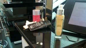 makeup products at checkout counter at sephora
