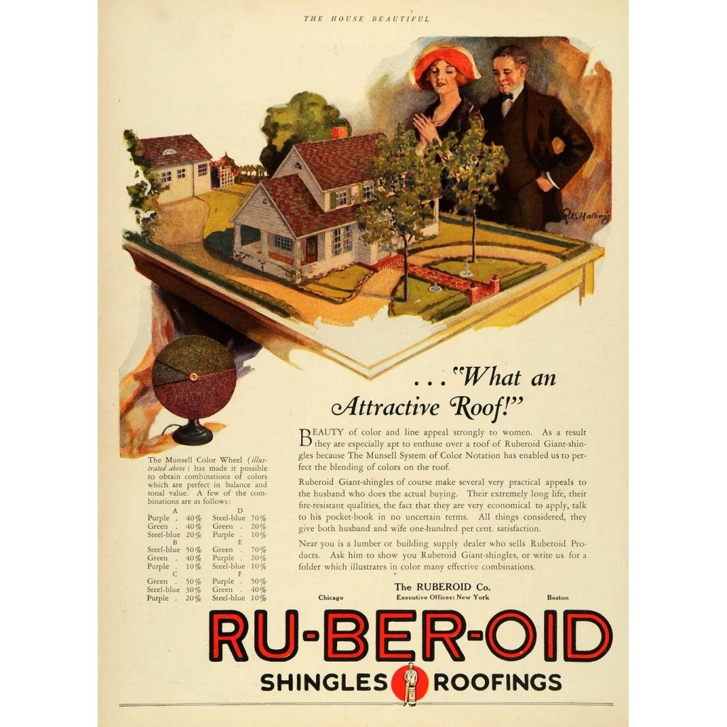 vintage advertisement for ruberoid shingles & roofing