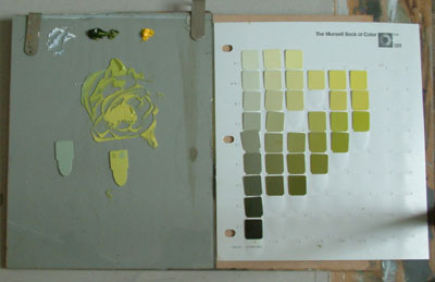 Oil paints mixed using Munsell color chart
