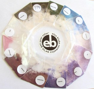 eye shadow samples in form of color wheel