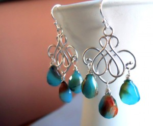 Sueanne Shirzay Blue and Brown Opal Chalcedony chandelier earrings