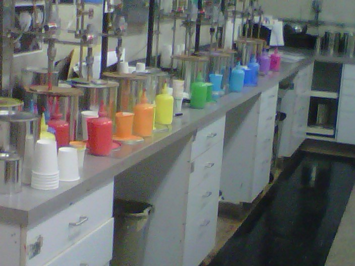 Munsell color lab bottles on color