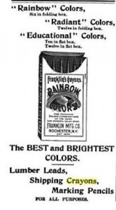 An old ad for Franklin Manufacturing Company's flagship crayon lines, the Franklin Rainbow Colors Box (American Stationer Vol 38), circa 1895.