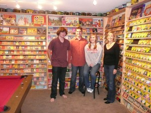 Ed Welter and family in front of his impressive crayon collection.