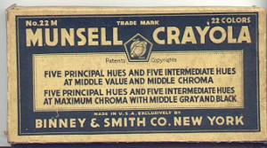 The label from a box of Munsell Crayola crayons, No. 22M with 22 colors.