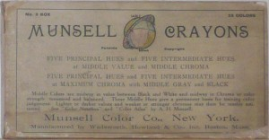 The label from a box of Munsell Crayons from circa 1906, No. 3 box with 22 colors.
