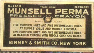 The label from a box of Munsell Perma Pressed crayons, No. 220M with 22 colors.