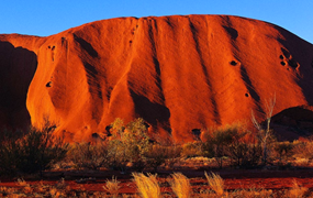 Red color of Ayers Rock, Australia.