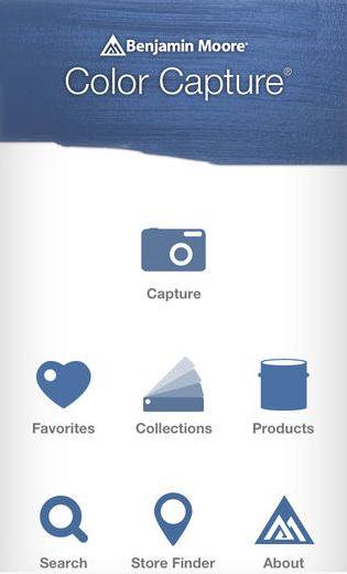 Screen shot of the Benjamin Moore Paint color app, Color Capture