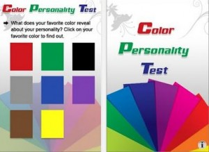 Screenshots from the Color Personality Test color phone app.
