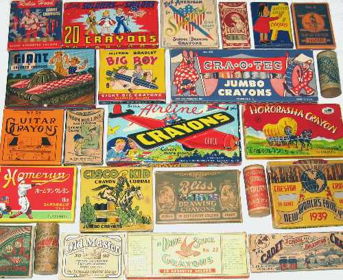 A potporri of older crayon boxes from the collection of Ed Welter, crayon collector.