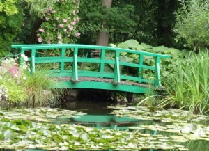 Bright green colors on the bridge at Giverny Monet's Garden.