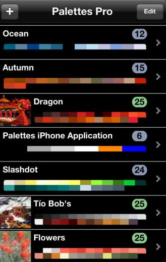 Screenshot from the pro version of the Palettes color matching app.