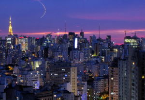 Purple sunset over Sao Paulo, Brazil.