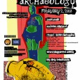 Colorful handbill poster of Punk Archaeology, February 2, 2013, promoting music and round table discussion at the Sidestreet Grille & Pub in Fargo, ND.