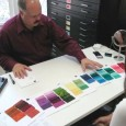 Personal Style Counselor John Kitchener lays out Munsell Color swatches to help analyse a clients color palette