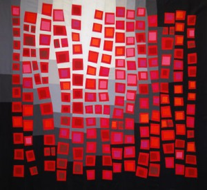 Original Art Quilt: Push-Up #3: Requisite Red by Maria Elkins