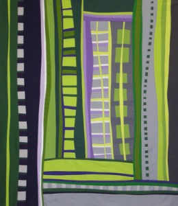 Original Art Quilt: Push-Up #4: Reaching by Maria Elkins.