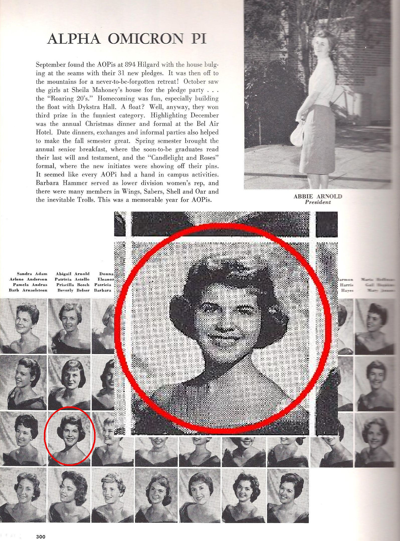 Priscilla Palmer's (nee: Beech) 1960 UCLA yearbook photo, where she learned about the Munsell Color System that would guide her in her future careers.