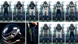Images of the new Seattle Seahawks football uniform introduced in 2012.