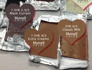 Selection of chocolate bars next to a Munsell color chart with their color notation specified.