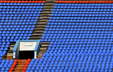 Blue and red sports stadium seating