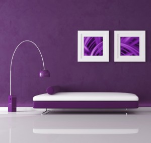 purple minimal interior with velvet sofa and lamp.