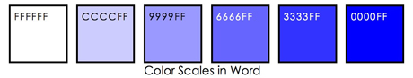 Blue color scales using a computer and generating hex codes