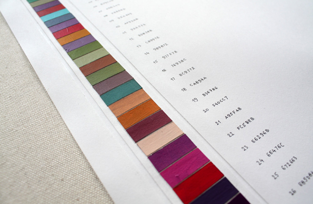 A chart of various color swatches in a line down a page with code names associated with them