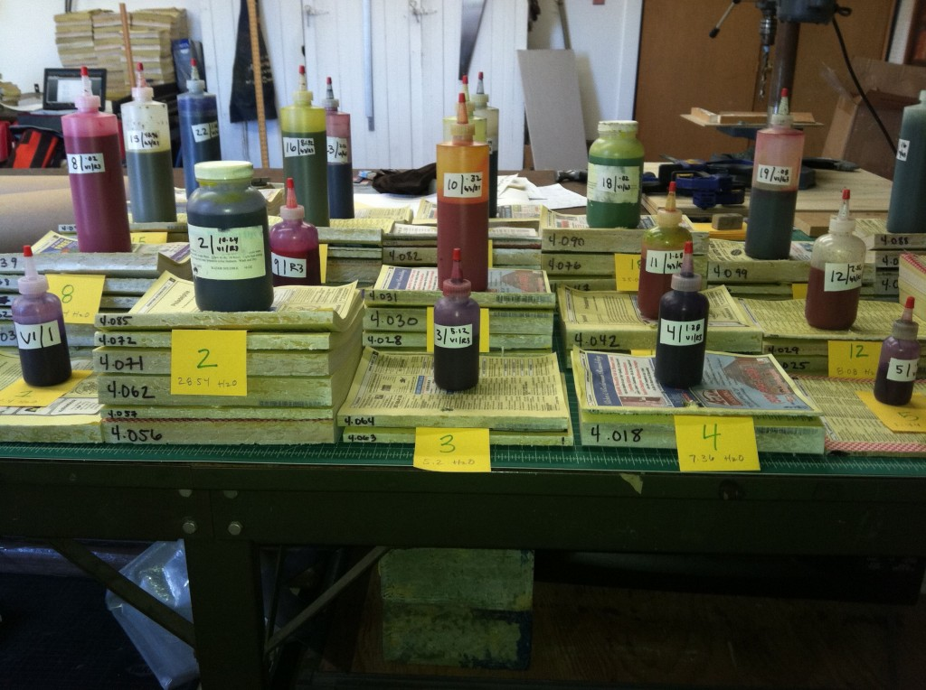Dyes chosen to color salvaged telephone books for Katie Murken's art installation, Continua.