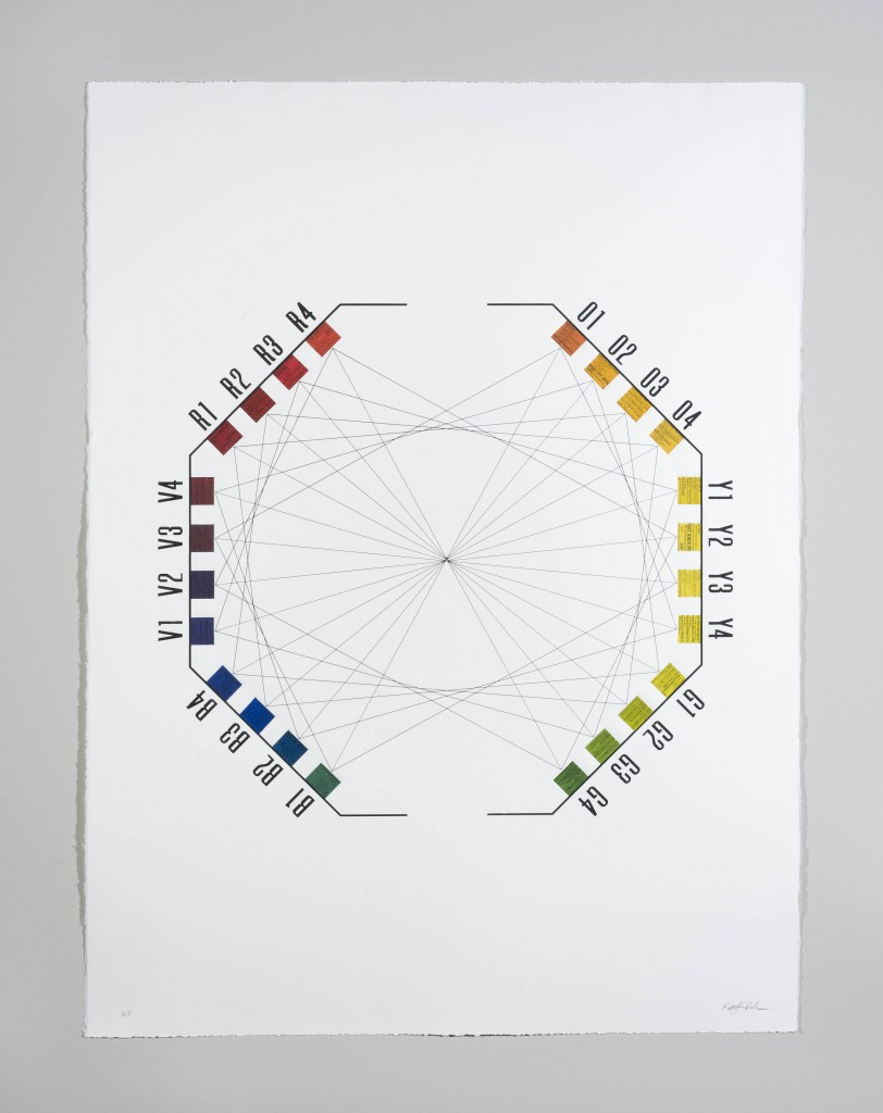 Color wheel chart for Katie Murken's art installation, Continua, based on the Munsell Color Tree.