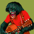 Alex Hanson-White's finished example of a chimpanzee illustration, creating Pixel Art using Munsell Color Theory.
