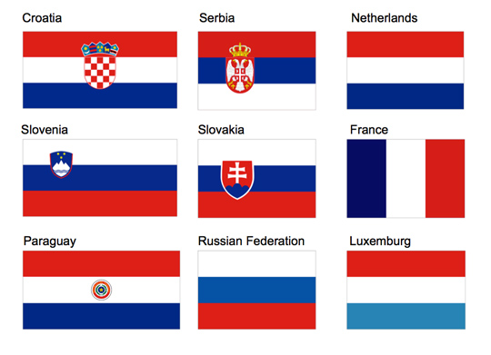 A grid of 9 flags in red, white and blue with corresponding country names