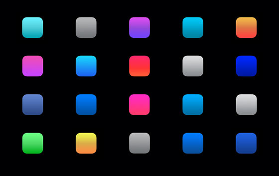 Different colored icons set on