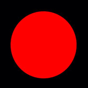 A red circle in the center of a black square