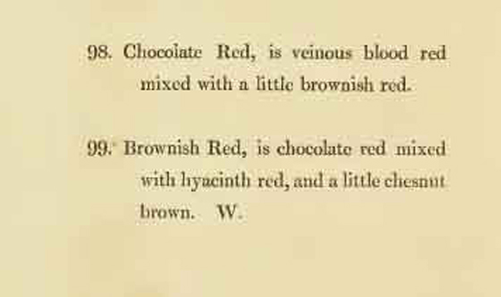 An excerpt from a book defining the colors chocolate red and brownish red