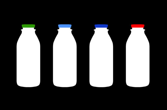 Four milk jugs with different color lids are signs that mean different percentage of fat