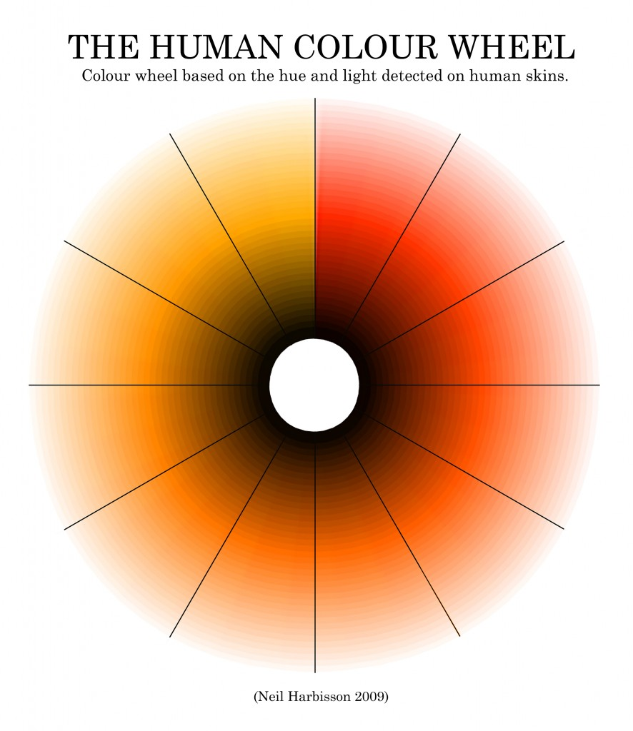 Neil Harbisson's work, The Human Colour Wheel, based on the hue and light detected on human skins.