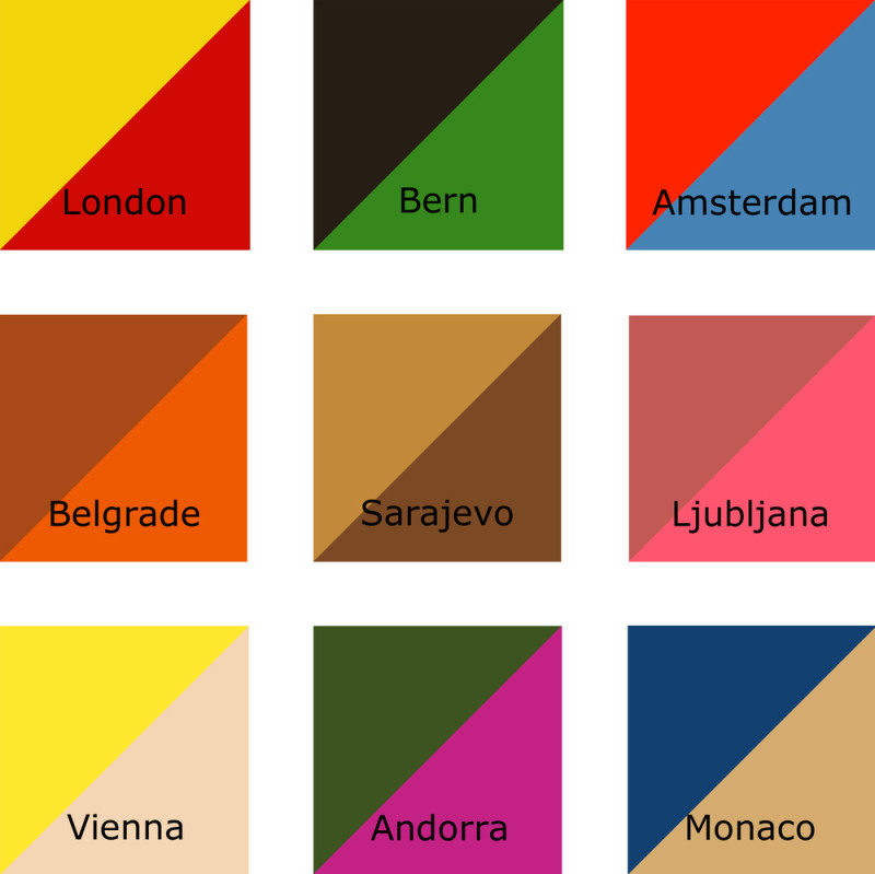 Neil Harbisson's painting, City Colours, a series based on the specific colors that define the different capital cities of Europe.