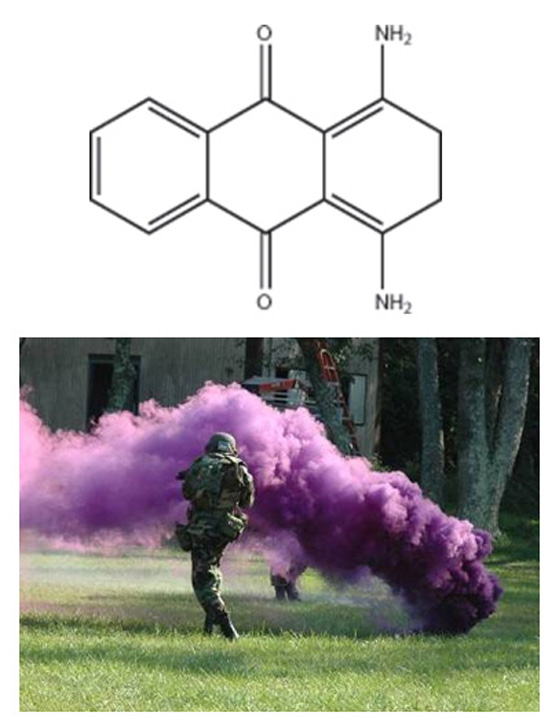A soldier in front of a plume of purple smoke in a field along with the composition of the purple dye