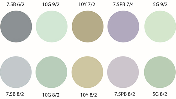 Two rows showing 10 circles of various colors with Munsell codes indicated