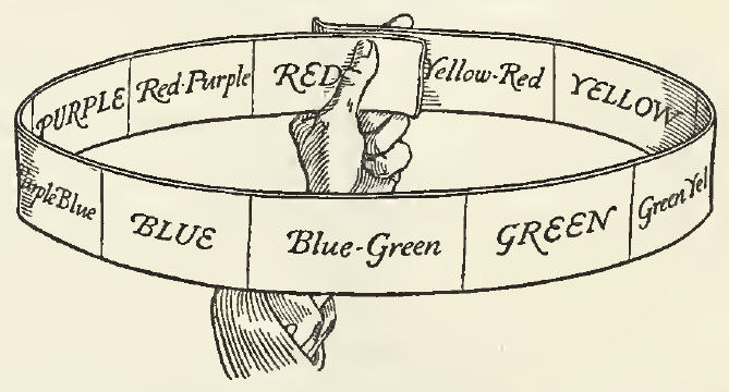 Illustration of a hand holding a circular band with the 10 hue colors written on it to represent the Hue dimension of the Munsell Color System.