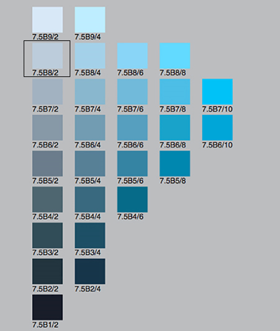 A Munsell color chart with rows of blue chips in various colors