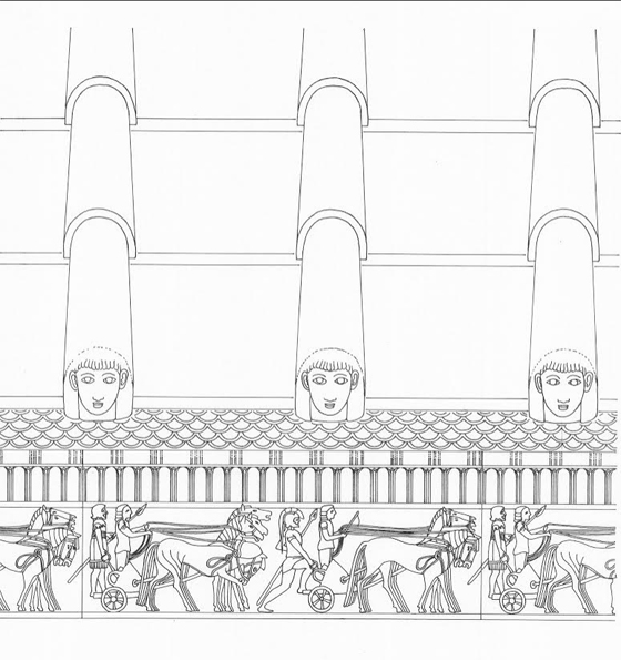 A architectural drawing of a clay rooftop