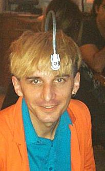 Neil Harbisson in New York City during the Munsell Interview in 2014.